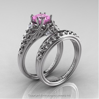 Classic-French-White-Gold-Princess-Light-Pink-Sapphire-Diamond-Lace-Bridal-Ring-R175P-WGDLPS-S-402×402
