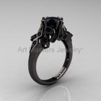 Edwardian 14K Black Gold 1.0 CT Black Diamond Engagement Ring Wedding Ring R231-14KBGBD