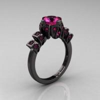 Edwardian 14K Black Gold 1.0 CT Pink Sapphire Ballerina Engagement Ring R241-14KBGPS