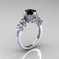 Edwardian 14K White Gold 1.0 CT Black Moissanite White Diamond Ballerina Engagement Ring R241-14KWGDBM