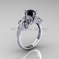 Edwardian 14K White Gold 1.0 CT Black Moissanite White Diamond Engagement Ring Wedding Ring R231-14KWGDBM