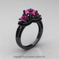 Gorgeous 14K Black Gold Three Stone Pink Sapphire Black Diamond Engagement Ring Wedding Ring R182-14KBGBDPS