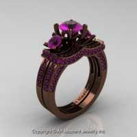 Exclusive French 14K Chocolate Brown Gold Three Stone Amethyst Engagement Ring Wedding Band Set R182S-14KBRGAM