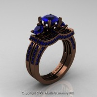 Exclusive French 14K Chocolate Brown Gold Three Stone Blue Sapphire Engagement Ring Wedding Band Set R182S-14KBRGBS