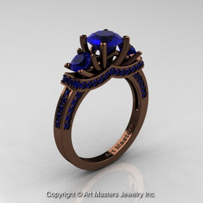 Exclusive-French-14K-Chocolate-Brown-Gold-Three-Stone-Blue-Sapphire-Engagement-Ring-Wedding-Ring-R182-14KBRGBS-P-402×402