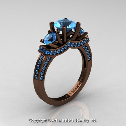 Exclusive-French-14K-Chocolate-Brown-Gold-Three-Stone-Blue-Topaz-Engagement-Ring-Wedding-Ring-R182-14KBRGBT-P-402×402