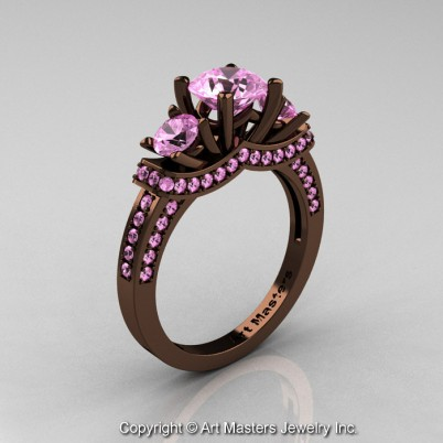Exclusive-French-14K-Chocolate-Brown-Gold-Three-Stone-Light-Pink-Sapphire-Engagement-Ring-Wedding-Ring-R182-14KBRGLPS-P-402×402