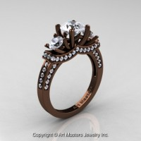 Exclusive French 14K Chocolate Brown Gold Three Stone White Sapphire Engagement Ring R182-14KBRGWS