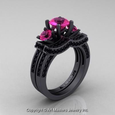 Exclusive-French-14K-Matte-Black-Gold-Three-Stone-Pink-Sapphire-Black-Diamond-Engagement-Ring-Wedding-Band-Bridal-Set-R182S-14KMBGBDPS-P-402×402