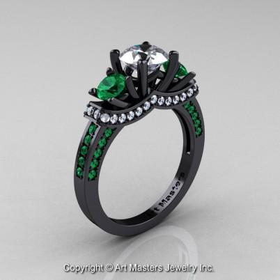 French-14K-Black-Gold-Three-Stone-Emerald-Diamond-Engagement-Ring-R182-14KBGDEM-P2-402×402