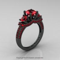 Exclusive 14K Matte Black Gold Three Stone Rubies Engagement Ring Wedding Ring R182-14KMBGR