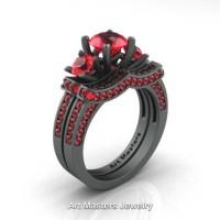 French 14K Matte Grey Gold Three Stone Rubies Engagement Ring Wedding Band Bridal Set R182S-14KMGGR