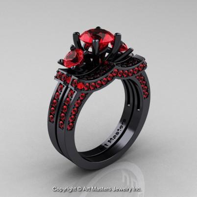 French-Black-Gold-Three-Stone-Ruby-Wedding-Ring-Engagement-Ring-Bridal-Set-R182S-BGR-P-402×402