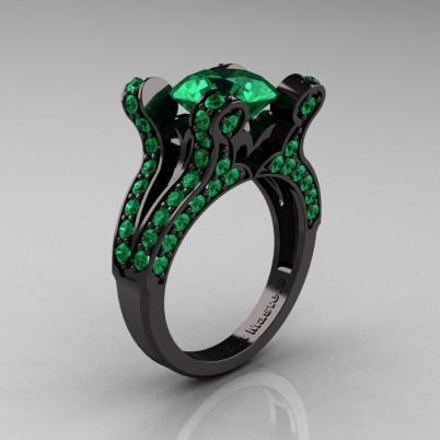 French-Vintage-Black-Gold-3-0-Carat-Emerald-Pisces-Weddinng-Ring-Engagement-Ring-R228-BGEM-P-402×402