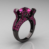 French Vintage 14K Black Gold 3.0 CT Pink Sapphire Pisces Wedding Ring Engagement Ring Y228-14KBGPS