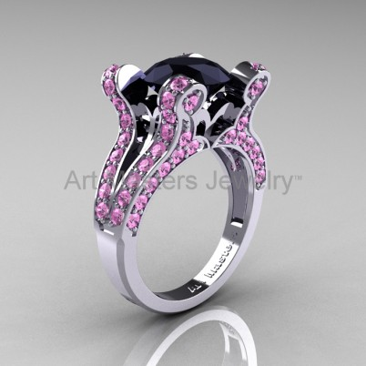 French-Vintage-White-Gold-3-0-Carat-Black-DIamond-Light-Pink-Sapphire-Pisces-Weddinng-Ring-Engagement-Ring-R228-WGLPSBD-P-402×402