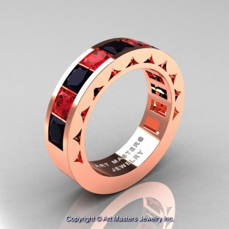 Mens-Modern-14K-Rose-Gold-Princess-Black-Diamond-Rubies-Channel-Cluster-Sun-Wedding-Ring-R274-RGRBD-P-700×700