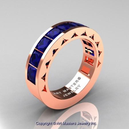 Mens-Modern-14K-Rose-Gold-Princess-Blue-Sapphire-Channel-Cluster-Sun-Wedding-Ring-R274-RGBS-P-700×700
