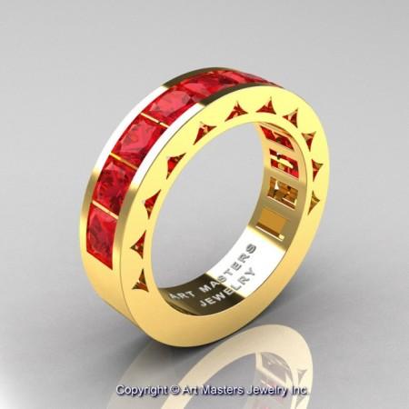 Mens-Modern-14K-Yellow-Gold-Princess-Rubies-Channel-Cluster-Sun-Wedding-Ring-R274-YGR-P-700×700