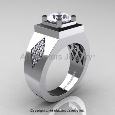 Mens-Modern-French-14K-White-Gold-2-0-Ct-Russian-Cubic-Zirconia-Diamond-Wedding-Ring-R338M-14KWGDCZ-P-402×402