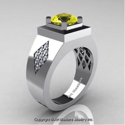 Mens-Modern-French-14K-White-Gold-2-0-Ct-Yellow-Sapphire-Diamond-Wedding-Ring-R338M-14KWGDYS-P-402×402