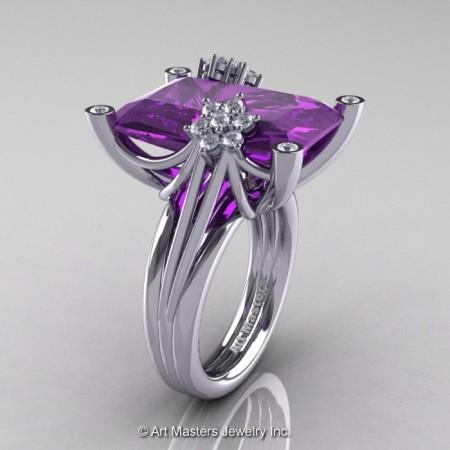 Modern-Bridal-14K-White-Gold-Radiant-Amethyst-Diamond-Honeymoon-Cocktail-Ring-R292-14KWGDAM-P-700×700