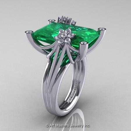 Modern-Bridal-14K-White-Gold-Radiant-Emerald-Diamond-Fantasy-Cocktail-Ring-R292-14KWGDEM-P-700×700
