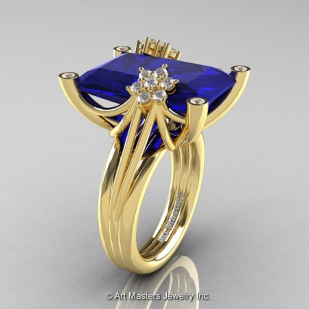 Modern-Bridal-14K-Yellow-Gold-Blue-Sapphire-Diamond-Honeymoon-Cocktail-Ring-R292-14KYGDBS-P-700×700