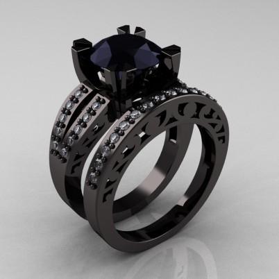 Modern-Vintage-Black-Gold-Black-and-White-Diamond-Solitaire-Ring-Wedding-Band-Set-R102S-BGDBD-SET-P-402×402