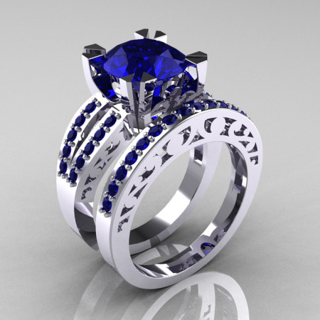 Modern-Vintage-White-Gold-Blue-Sapphire-Solitaire-Wedding-Ring-Set-R102-WGBS-P-700×700