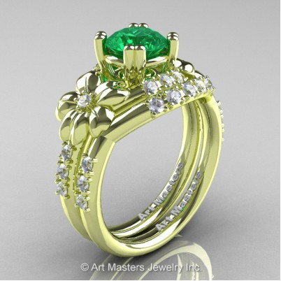 Nature-Inspired-14K-Green-Gold-1-0-Ct-Emerald-Diamond-Leaf-Vine-Engagement-Ring-Wedding-Band-Set-R245S-GRGDEM-P-402×402