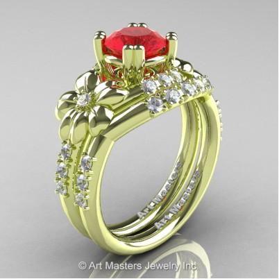 Nature-Inspired-14K-Green-Gold-1-0-Ct-Ruby-Diamond-Leaf-Vine-Engagement-Ring-Wedding-Band-Set-R245S-GRGDR-P-402×402