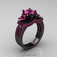French 14K Black Gold Three Stone Pink Sapphire Engagement Ring Wedding Band Bridal Set R182S-14KBGPS