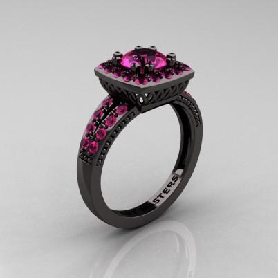 Renaissance-Classic-Black-Gold-1-0-Carat-Round-Pink-Sapphire-Engagement-Ring-R220-BGPS-P-402×402
