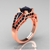 Classic Edwardian 14K Rose Gold 1.0 Ct Black Diamond Engagement Ring R285-14KRGBD