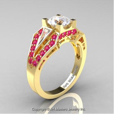 Royal-Edwardian-14K-Yellow-Gold-1-0-Ct-White-Sapphire-Pink-Sapphire-Engagement-Ring-R285-14KYGPSWS-P-402×402