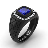 Mens Modern 14K Black Gold 1.25 Ct Princess Blue Sapphire Diamond Wedding Ring R1131-14KBGDBS