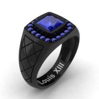 Mens Modern 14K Black Gold 1.25 Ct Princess Blue Sapphire Wedding Ring R1131-14KBGBS