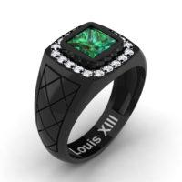 Mens Modern 14K Black Gold 1.25 Ct Princess Emerald Diamond Wedding Ring R1131-14KBGDEM