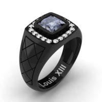 Mens Modern 14K Black Gold 1.25 Ct Princess Grey Sapphire Diamond Wedding Ring R1131-14KBGDGS