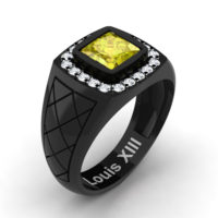 Mens Modern 14K Black Gold 1.25 Ct Princess Yellow Sapphire Diamond Wedding Ring R1131-14KBGDYS