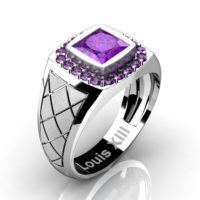 Mens Modern 14K White Gold 1.25 Ct Princess Amethyst Wedding Ring R1131-14KSWGAM