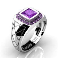 Mens Modern 14K White Gold 1.25 Ct Princess Amethyst Wedding Ring R1131-14KWGAM