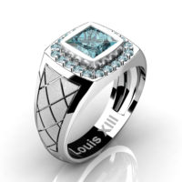 Mens Modern 14K White Gold 1.25 Ct Princess Blue Diamond Wedding Ring R1131-14KSWGBLD2