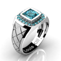 Mens Modern 14K White Gold 1.25 Ct Princess Blue Diamond Wedding Ring R1131-14KSWGBLD