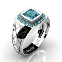 Mens Modern 14K White Gold 1.25 Ct Princess Blue Diamond Wedding Ring R1131-14KWGBLD