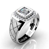 Mens Modern 14K White Gold 1.25 Ct Princess Certified Diamond Wedding Ring R1131-14KSWGCVSD