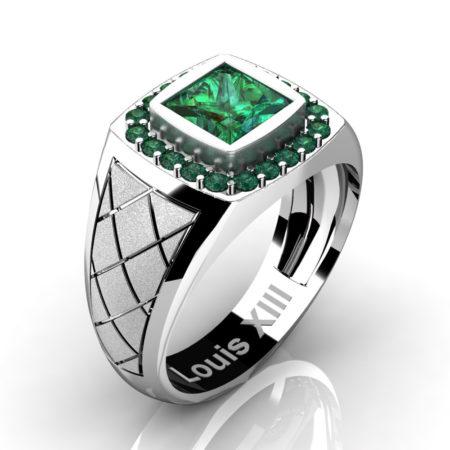 Louis-XIII-Modern-14K-White-Gold-1-25-Carat-Princess-Emerald-Wedding-Ring-R1131-14KSWGEM