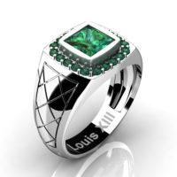 Mens Modern 14K White Gold 1.25 Ct Princess Emerald Wedding Ring R1131-14KWGEM