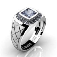 Mens Modern 14K White Gold 1.25 Ct Princess Grey Sapphire Wedding Ring R1131-14KSWGGS